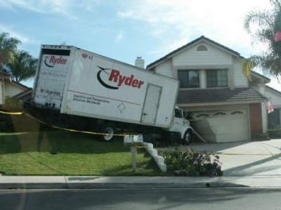 Funny moving truck parked