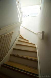 Long flight of stairs may prove quite a challenge for elderly people.