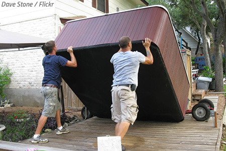 How to move a hot tub on its side
