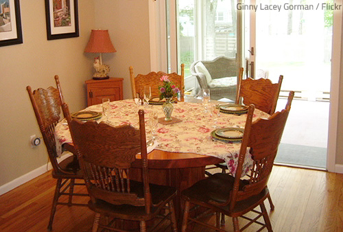 The dining room is the most cheerful and inviting room in the home.