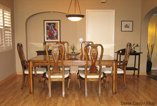 It's great to see your dining room table and chairs in excellent condition in your new home.